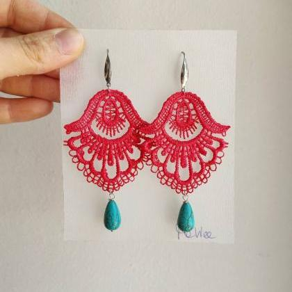 Light red lace earrings hand-dyed w..