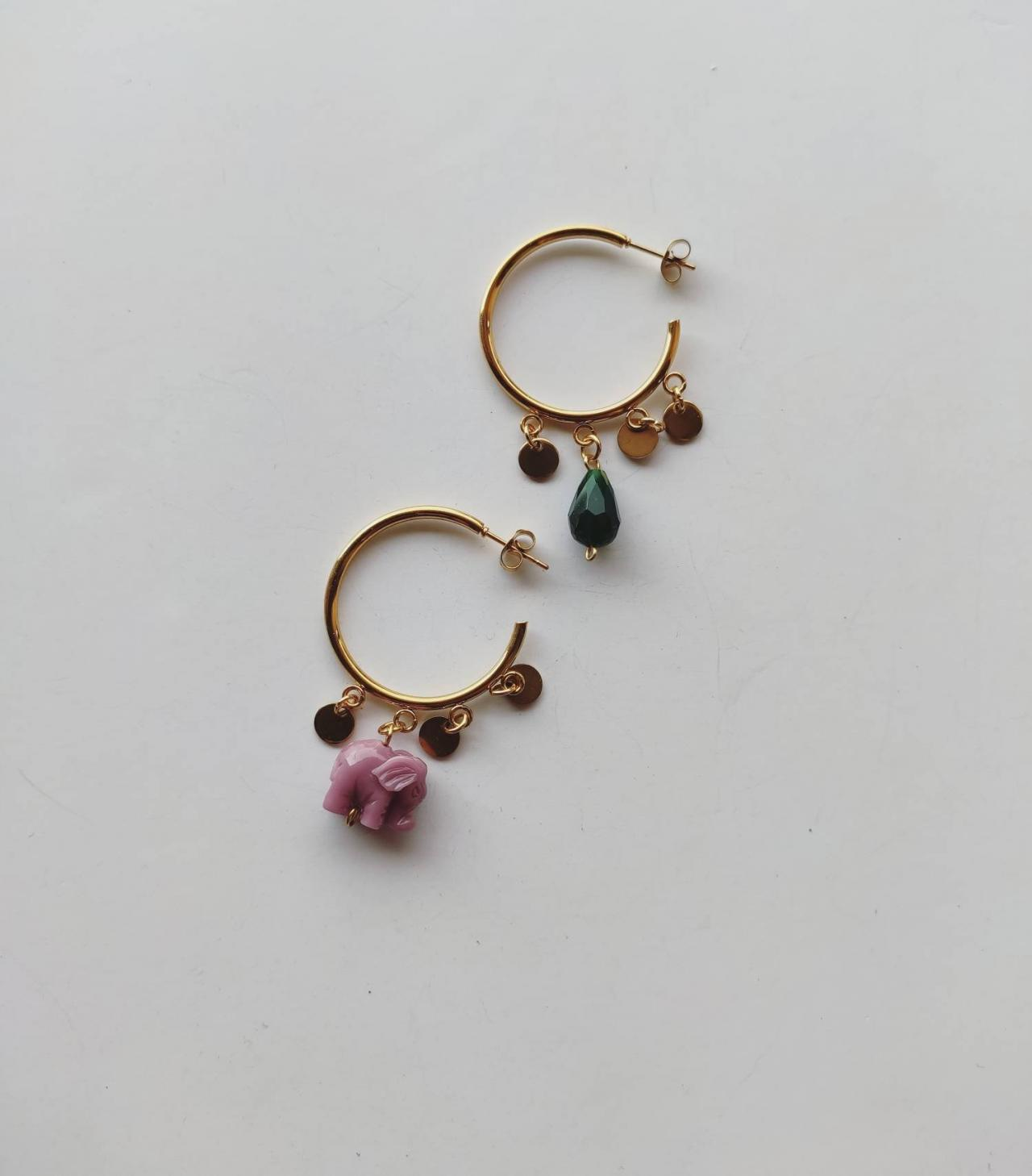 3 cm stainless steel gold hoop earrings with resin elephant, customizable, available in various combinations