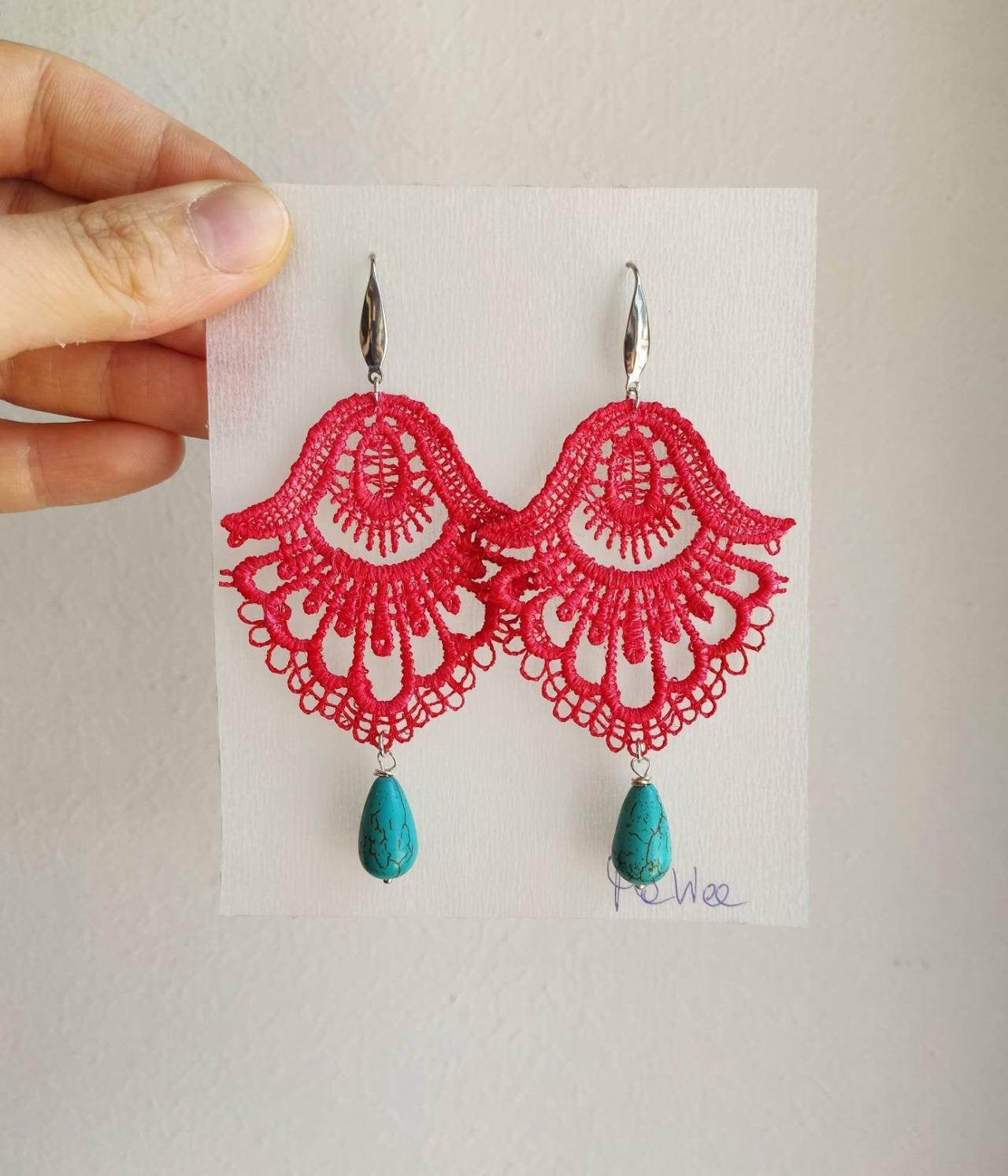 Light red lace earrings hand-dyed with turquoise drop stone and silver steel monachella