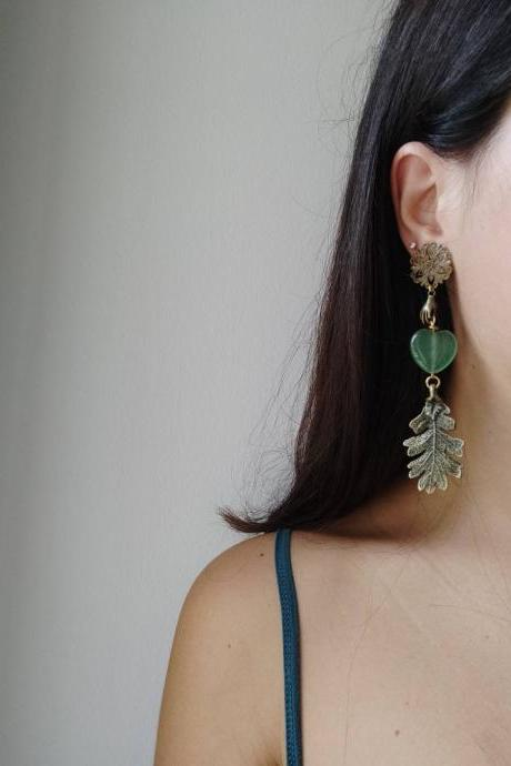 Bronze brass oak leaf dangling earrings and heart in green jade. Long but not heavy