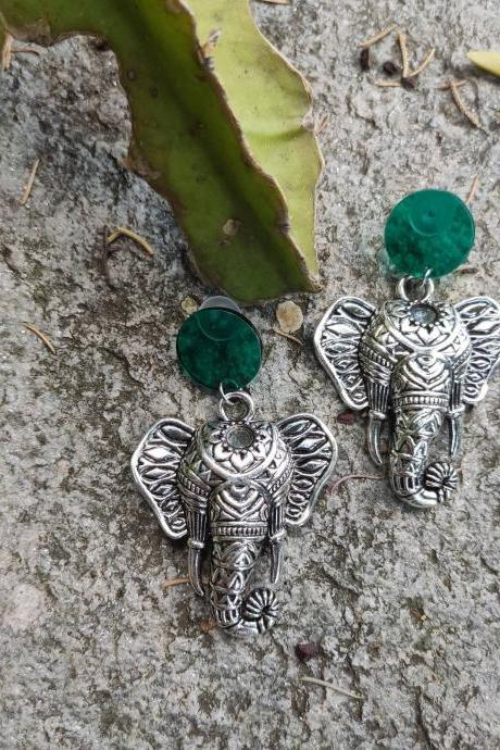 Elephant earrings dangling in silver brass oriental style