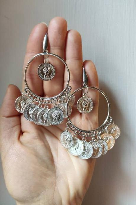 Indian-style silver hoop earrings with pendants and lucky coins and steel pin for allergies
