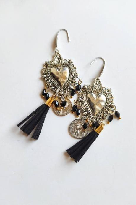 Silver sacred heart earrings in brass with black leather tassel and crystalline with steel pin