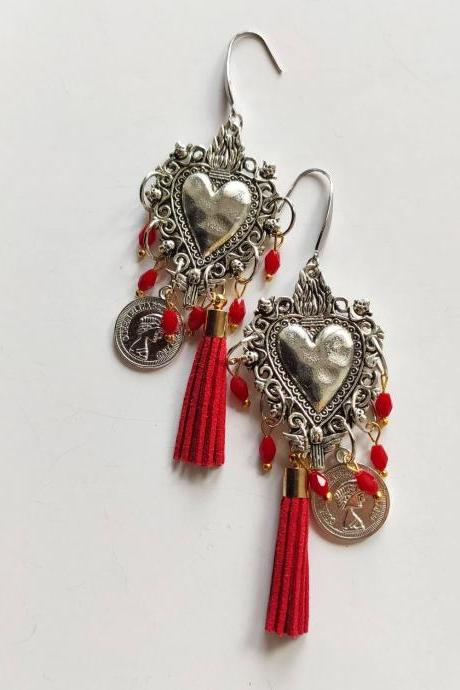 Silver silver pearl earrings sacred heart in brass with leather tassel and red crystalline (stainless steel pin)