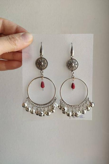 Large Indian-style hoop earrings with pendants and noisy bells (stainless steel pin)