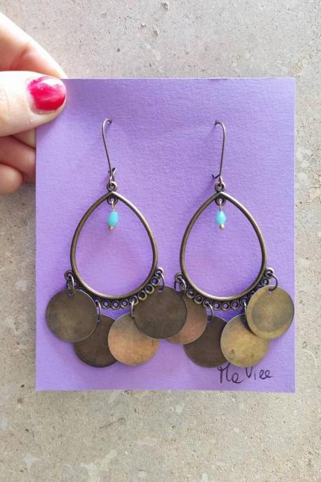 Bronze brass pendant earrings, very light, with dime and crystal blue pendants. hook closure