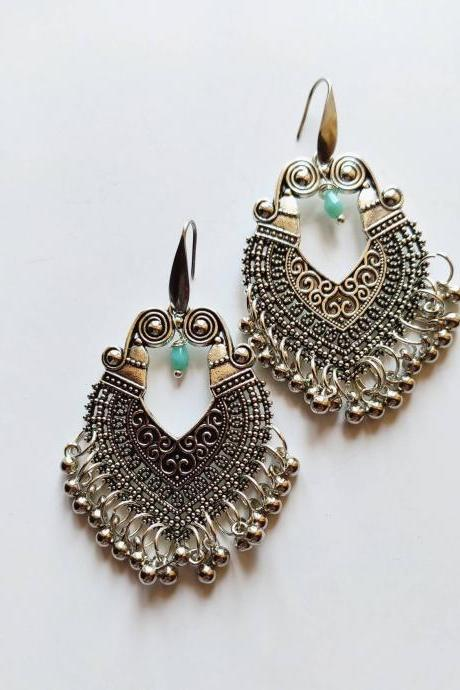 Indian oriental-style dangling earrings in silver brass with steel monachella pin for allergies and crystal clear drip