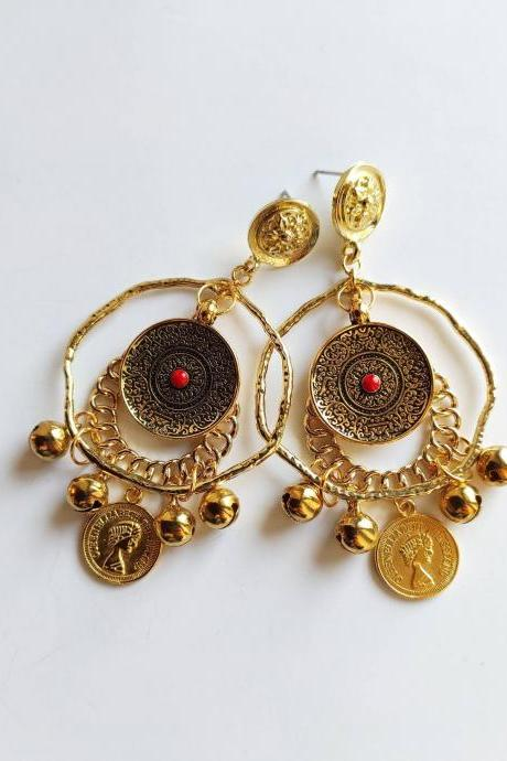 Brass hoop earrings with red stone pendant medallion, bells and lucky mint