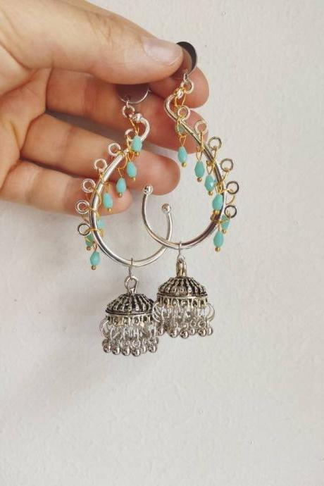India chandelier earrings in silver brass with blue crystals